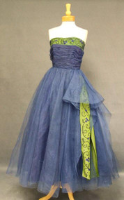 Stunning Cobalt Tulle & Beaded Iridescent Green Taffeta Strapless 1950's Evening Gown