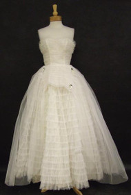 Superb Ivory Tulle Strapless Ball Gown