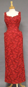 INCREDIBLE Red Lace 1950's Bombshell Evening Gown w/ Hip Pockets