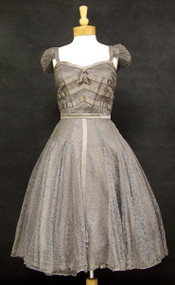 Rare Gabriella Bellenghi Gibraltar Gray Lace 1950's Cocktail Dress