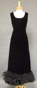 Wonderful Christian Dior Black Velvet 1960's Evening Gown w/ Tulle Hem