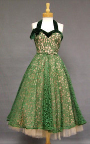 FABULOUS Deep Green Lace & Pink Tulle 1950's Prom Dress