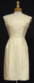 Oleg Cassini Cream Silk 1960's Dress
