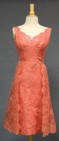 FANTASTIC Salmon Lace Bombshell Cocktail Dress w/ Overskirt