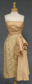 FABULOUS Convertible Tan Taffeta & Ecru Lace 1950's Cocktail Dress
