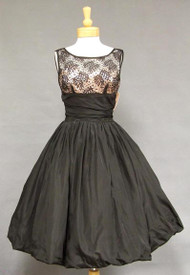WONDERFUL Black Taffeta & Lace 1950's Balloon Dress w/ Pink Satin