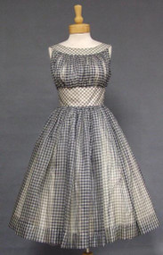 Navy & White Gingham Organdy 1950's Party Dress