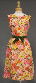 Adele Simpson Floral Voile Dinner Dress w/ Velvet Waistband