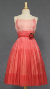 Terrific Pink Ombre Chiffon Cocktail Dress w/ Rose