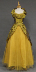 STUNNING Green Gold Organdy & Tulle 1950's Ball Gown w/ Wrap 38