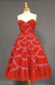 EXTRAORDINARY Gathered Red Tulle 1950's Cocktail Dress w/ Iridescent Sequins