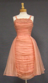 BOMBSHELL Draped Salmon Chiffon Cocktail Dress
