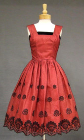 GORGEOUS Black & Red Tulle 1950's Cocktail Dress w/ Velvet Trim