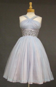 FABULOUS Pale Blue Chiffon Halter Dress w/ Beaded Waist