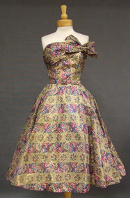 Breathtaking Printed Organdy 1950's Cocktail Dress w/ Bolero