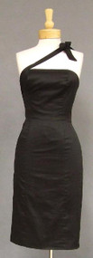 Asymmetrical Black Silk Estevez Cocktail Dress