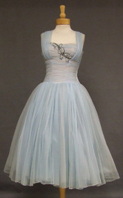 Fred Perlberg Pale Blue Chiffon 1950's Cocktail Dress w/ Sequined Applique