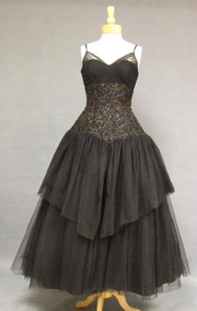 SUPERB Black & Gold Tulle & Lace 1950's Ball Gown