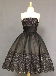 INCREDIBLE Black & Beige Organdy & Lace 1950's Cocktail Dress