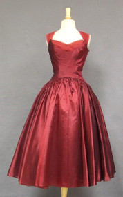 Shimmering Garnet Organdy 1950's Cocktail Dress