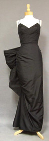 BREATHTAKING Sculptural Black Taffeta 1950's Evening Gown