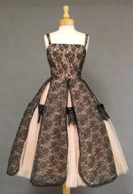 OUSTANDING Pink Tulle & Black Lace 1950's Cocktail Dress
