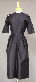 Christian Dior Navy Silk Satin 1960's Wrap Dress