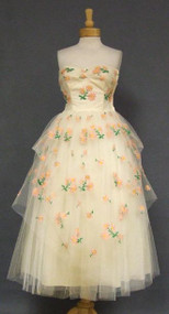FABULOUS Ivory Tulle 1950's Dress w/ Pink & Green Embroidery
