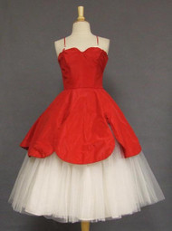 KNOCKOUT Red Taffeta & White Tulle Emma Domb 1950's Dress