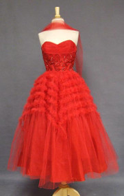 Cherry Red Tulle 1950's Prom Dress w/ Ruffles & Sequins