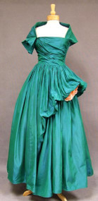 KNOCKOUT Emerald Taffeta Ballgown w/ Detachable Cape