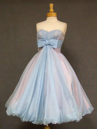 Swell Pale Blue Chiffon Strapless Balloon Dress