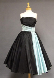 FABULOUS Will Steinman Black & Aqua Taffeta 1950's Cocktail Dress