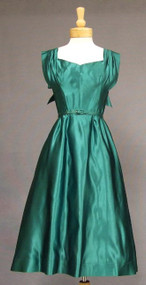 Adele Simpson Emerald Silk Satin Cocktail Dress