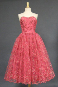 WONDERFUL Cerise Tulle 1950's Prom Dress w/ Pink & Gold Embroidery