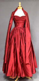 Kay Selig Garnet Organdy Strapless 1950's Ball Gown w/ Wrap