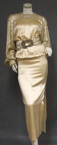 Exquisite Galanos Cream Satin Evening Ensemble