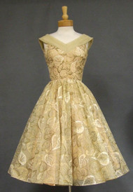 Beige Chiffon 1950's Cocktail Dress w/ Painted Leaves
