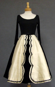 AMAZING Black Velvet & Cream Shantung 1950's Cocktail Dress w/ Jersey Bodice