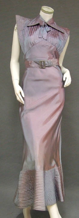 316c94f5c146 INCREDIBLE Iridescent Taffeta 1930's Evening Dress w/ Quilted Bust ...