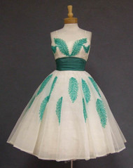 OUTSTANDING Will Steinman Green & White 1950's Prom Dress