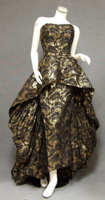 JAW DROPPING Black & Gold 1950's Evening Gown w/ Dramatic Double Skirt