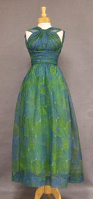 Superb Blue & Green FLoral Halter Gown