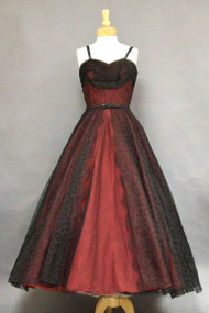 JAW DROPPING Red & Black Lace 1950's Ball Gown