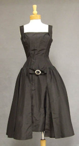 FABULOUS Mollie Parnis Black Silk Taffeta 1950's Cocktail Dress