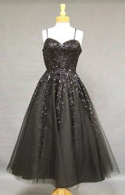 Gorgeous Black Tulle 1950's Cocktail Dress w/ Sequins