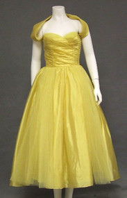 EXQUISITE Golden Tulle & Silk 1950's Cocktail Dress