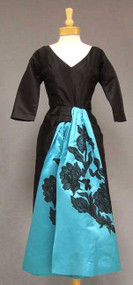 KNOCKOUT Black Silk Satin 1950's Cocktail Dress w/ Appliqued Sashes