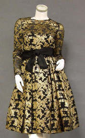 Shimmering Sarmi Gold & Black 1960's Cocktail Dress w/ Daring Bodice