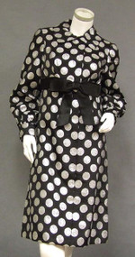 Stylish Black Satin Sarmi Coat Dress w/ Silver Coin Dots